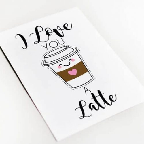 Love you a latte wenskaart