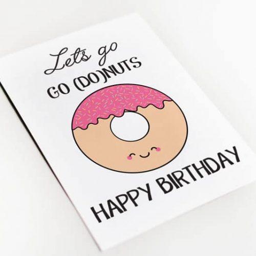 lest go nuts verjaardags kaart