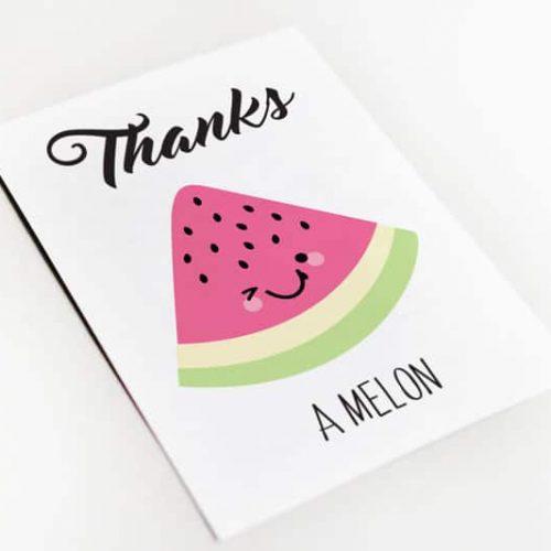 thanks a melon postcard bedankt kaart